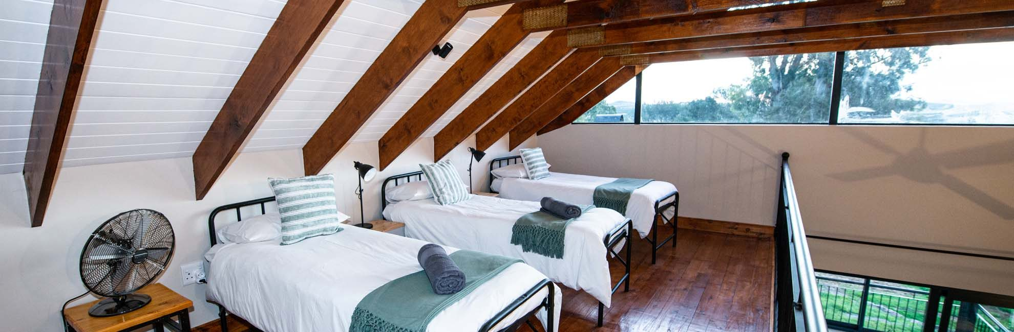 Loft level second bedrooms make the cottages ideal for families