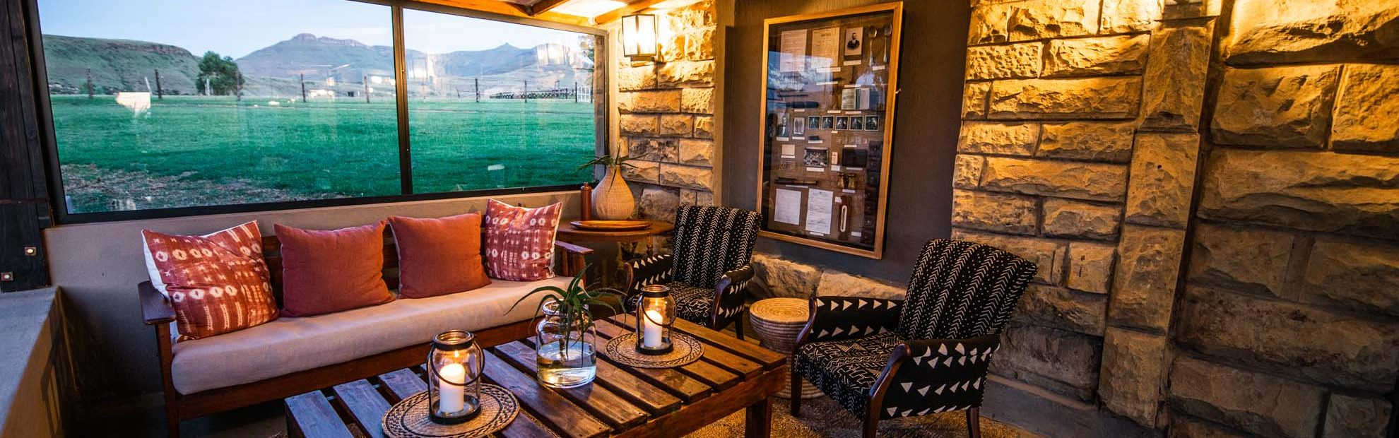 Bokpoort Mountain Lodge retains all its sandstone history, charm, and character