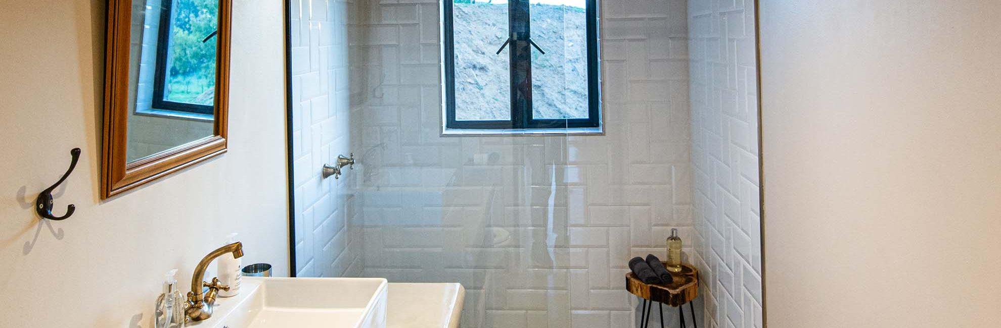 Modern farm-style bathrooms include deluxe toweling as well as soap, hand-cream, and shower gel